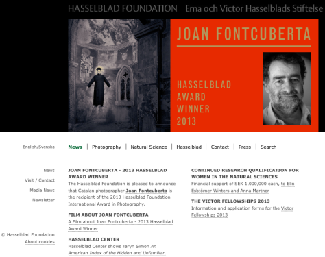 Screenshot of Hasselblad Website, 7 March 2013