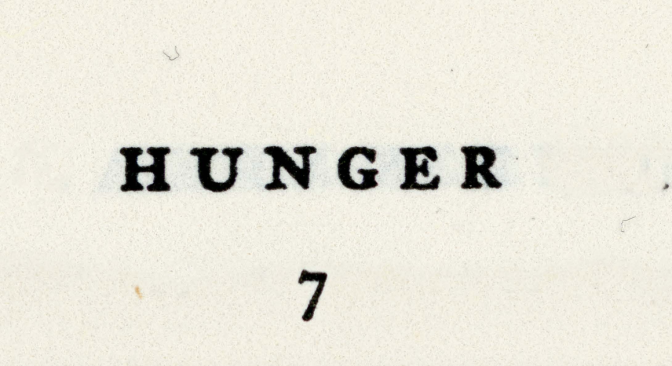 "Call for ""Hunger"" Magazine. Deadline: Oct. 3, 2018"
