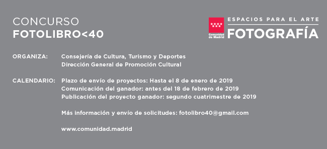 Photobook Award – Spain. Deadline: Jan. 8, 2019
